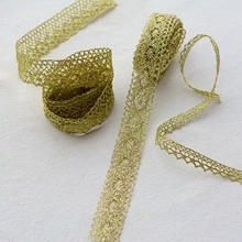 3m Golden Embroidered Lace trim DIY Wedding Dress Costume Skirt Doll Clothing Textiles Decoration lace ribbon Accessories HY178 frill trim eyelet embroidered skirt