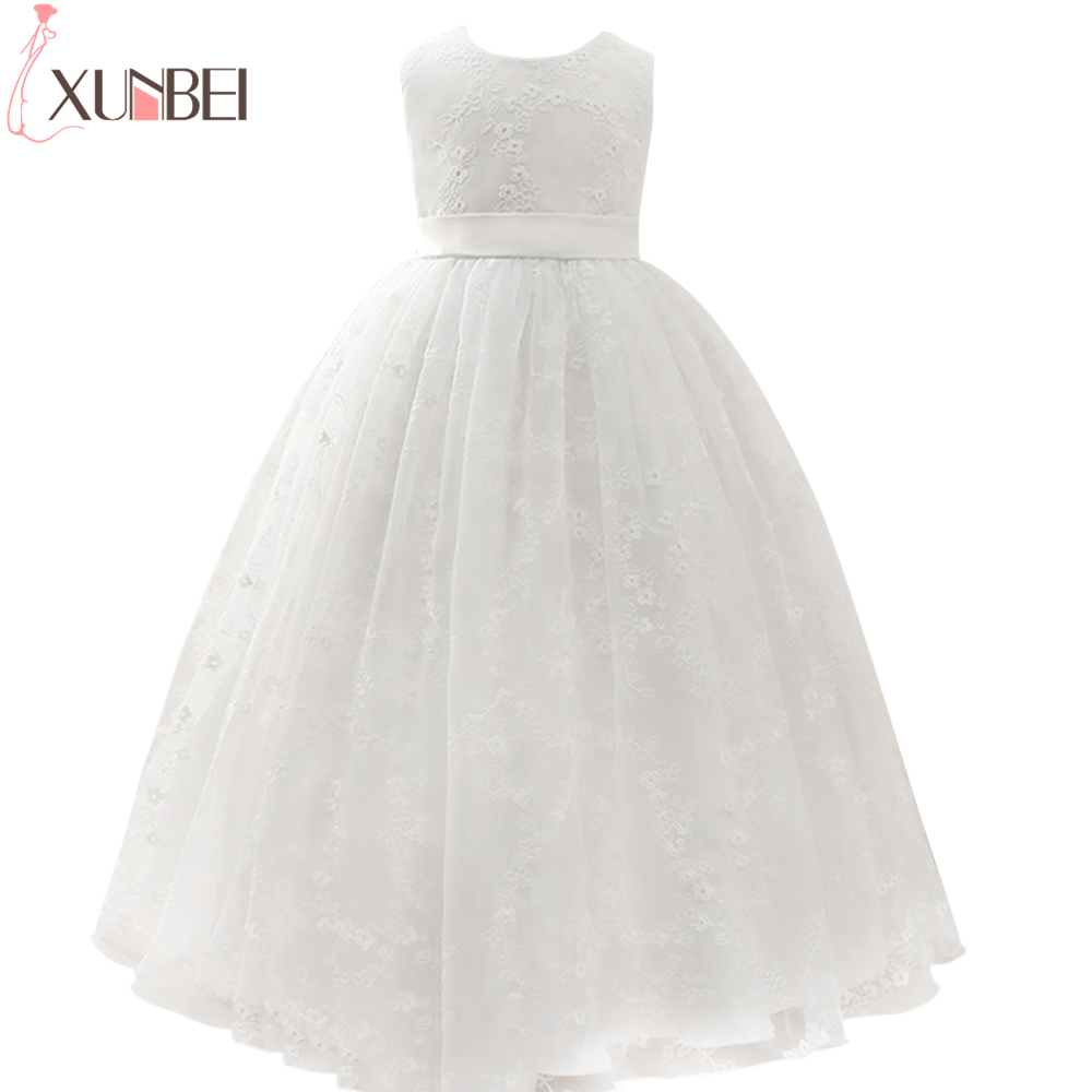 Cute Ball Gown Lace Flower Girl Dresses Sleeveless  O-Neck Girls Kids Evening Gowns First Communion Dresses 2020