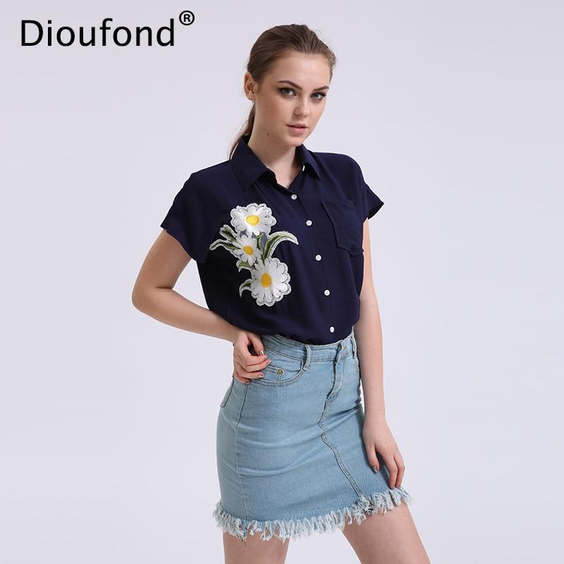Dioufond Floral Navy Manga corta Blusas de mujer Casual Apliques de - Ropa de mujer