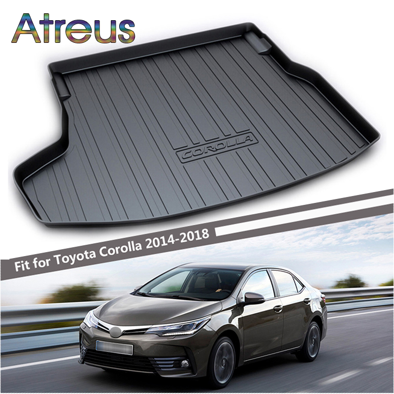 Atreus Car Rear Trunk Floor Mat Durable Carpet For Toyota Corolla E170 2014 2015 2016 2017 2018 Boot Liner Tray Anti-slip mat atreus car rear trunk floor mat durable carpet for toyota corolla e140 e150 2007 2013 boot liner tray waterproof anti slip mat