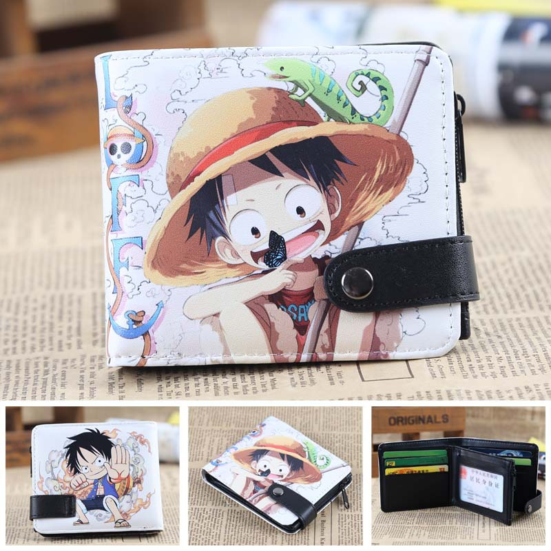 anime One Piece Luffy cosplay wallet Pu short wallet student coin purse japanese anime poke death note attack on titan one piece game ow short wallet with coin pocket zipper poucht billetera