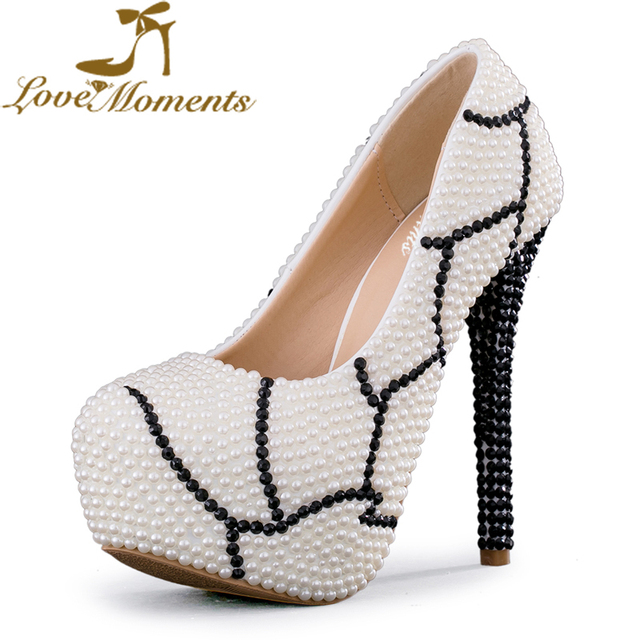 Love Moments pearl Ladies Wedding Shoes bride Pumps Platform Fashion High  Heels Shoes woman Ivory Black dress party women shoes e2ddc854dc35