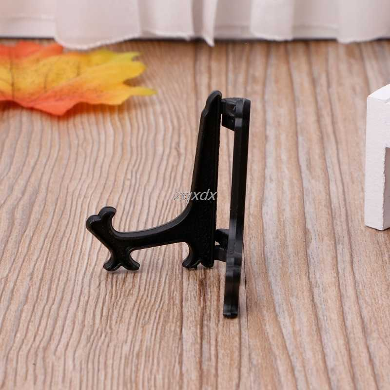Mini Plastic Coin Medal Gem Badge Golf Post Card Easels Coin Display Stand Display Plate Holders Black/White Drop ship