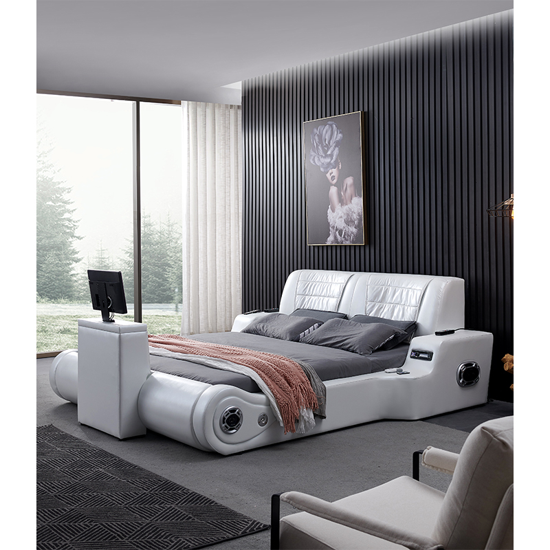 Real Genuine Leather Bed TV Soft Beds Bedroom Camas Lit Muebles De Dormitorio Yatak Mobilya Quarto Massage Speaker Bluetooth 361