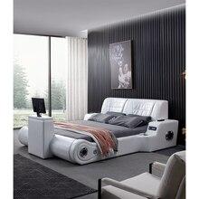 Real Genuine leather bed TV Soft Beds Bedroom camas lit muebles de dormitorio yatak mobilya quarto massage speaker bluetooth 361