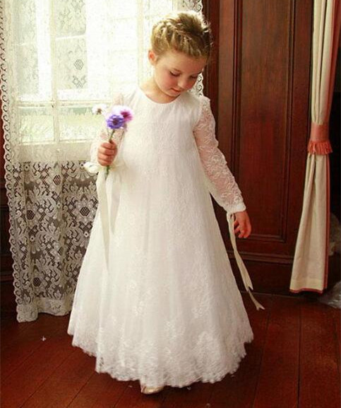 Sweet Pink Short Ball Gown Flower Girl Dresses With Bowknot Lace Tulle Baby Girls Birthday Dress Mother Baby Dress bowknot see thru lace vintage dress