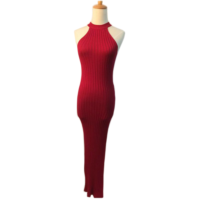 New Fashion Knitted Women Dresses Hang Neck Off The Shoulder Slim Bodycon Mid-Calf Dress Sexy Slim Split Casual Knitting Dress cute off the shoulder lemon dress for women