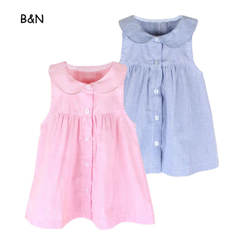 B&N Casual Cotton Baby Girl Dresses Summer Princess Kids Clothes Stripe Sleeveless Children clothing For Girls Wear