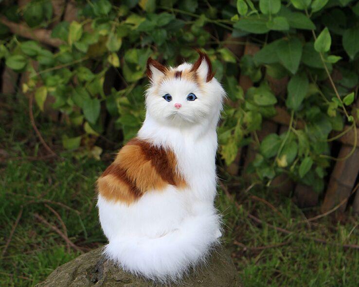 artificial cat model,polyethylene&fur cute cat about 14x21cm handicraft home decoration gift b1507