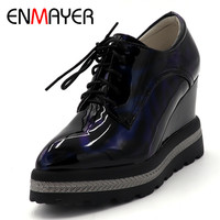 ENMAYER Round Toe Flat Platform Oxford Shoe For Women Casual Flats Shoes Woman Superstar Shoes Top