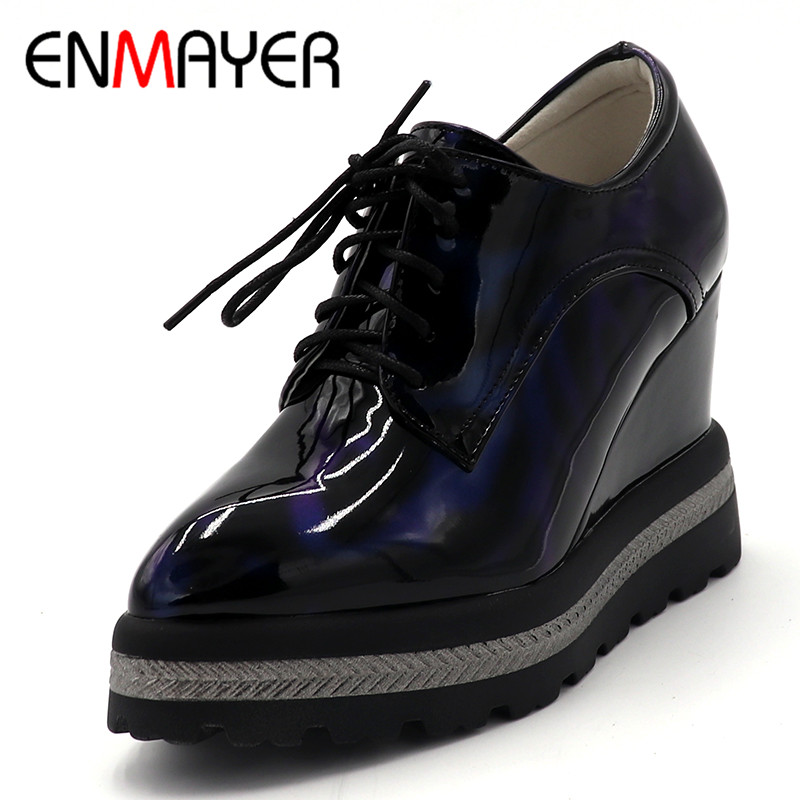 ENMAYER Round Toe Flat Platform Oxford Shoe for Women Casual Flats Shoes Woman Superstar Shoes Top Quality 2018 New Fashion Flat стоимость