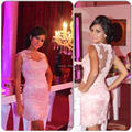 2014 Sexy Cheap High Neck Party Cocktail Dress Gowns See Through Back Vestido De Festa Curto Cocktail Dresses Discount