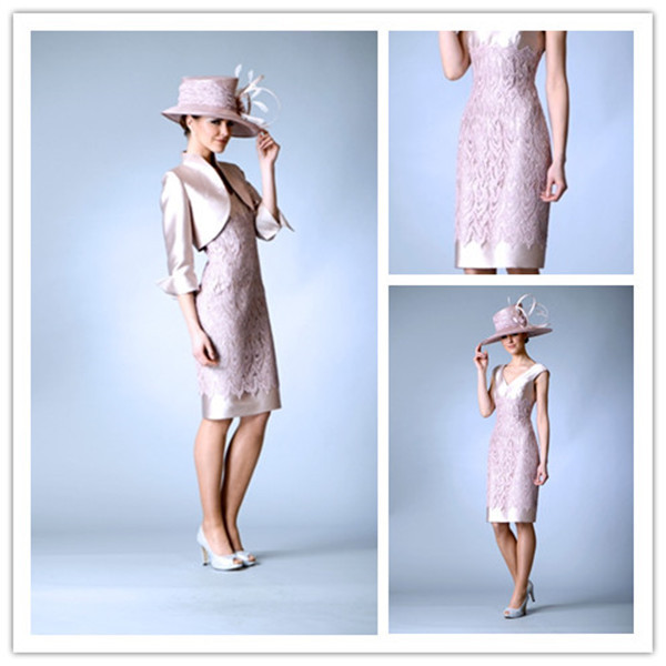Elegant Silver Pink 2014 Knee Length Mother Of The Bride Dresses