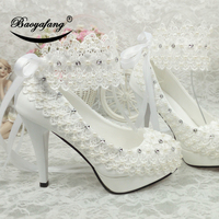 BaoYaFang New Arrival High heel platform shoes White Flower Womens wedding shoes ankle strap with Belt