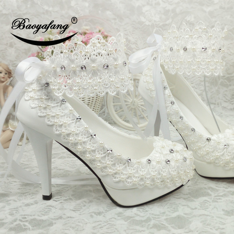 BaoYaFang nouveauté chaussures à plate-forme à talons hauts blanc fleur femmes chaussures de mariage bride à la cheville avec ceinture