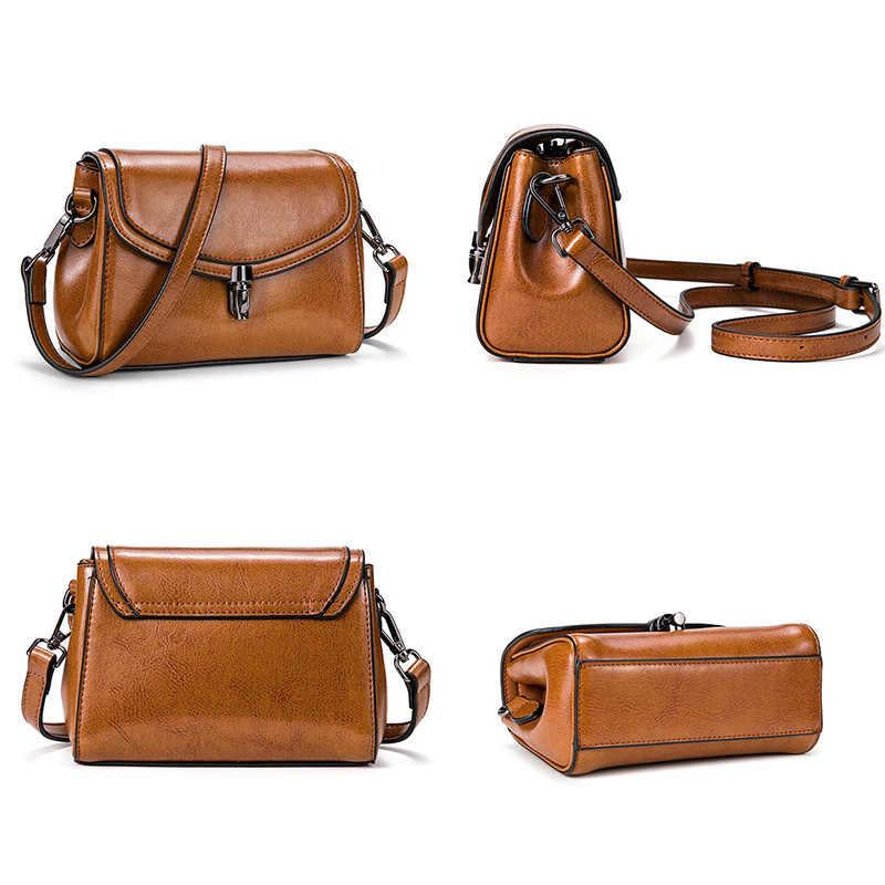 Zency Винтаж Для женщин сумка 100% из натуральной кожи классические черные сумки из натуральной кожи на каждый день Повседневное через плечо коричневого цвета, с маленькой защелкой