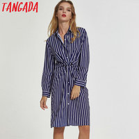 Tangada women elegant striped long shirts dress pleated long sleeve autumn 2017 turn-down collar ladies casual dresses vestidos