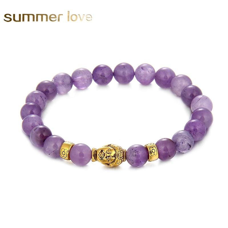 8 mm runde perler armbånd gull buddha naturlige ametyster lilla kvarts stein armbånd for kvinner strekke energi armbånd 2017 nye