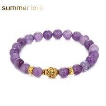 8 mm Round Beads Bracelet Gold Buddha Natural Amethysts Purple Quartz Stone