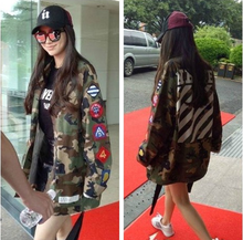 Angelababy Angela Baby with Korean camouflage embroidery badges in the long coat coat dress student couples
