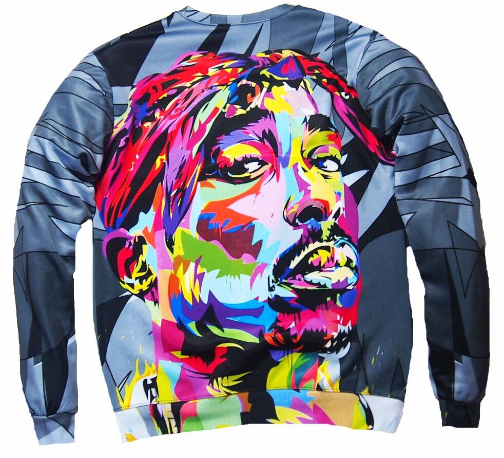2017 New Men Sweatshirts 3D Harajuku 2Pac Tupac Biggie American Gangster Rap Hoodies TUPAC SHAKUR CREWNECK Sweats Pullover Tops