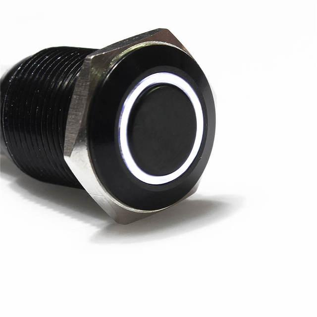 12 V 16mm LED Botão Interruptor Prata Metal de Alumínio Tipo de Engatamento Branco Instalação Muito Fácil Mais Popular