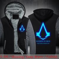 Dropshipping USA SIZE Assassins Creed Luminous Glowing Jacket Men Women Hoodies Sweatshirts Winter Fleece Men S