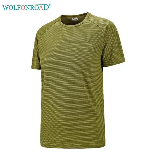 de823e6ded3f9 WOLFONROAD Men s T-shirts Quick Dry Camping Hiking T Shirt Plus Size Summer  Sport Tops