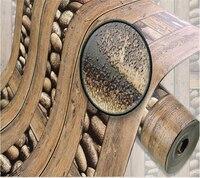Beibehang American 3d wallpaper retro wood wallpaper bar background wallpaper 3d stone imitation wood wallpaper papel de parede