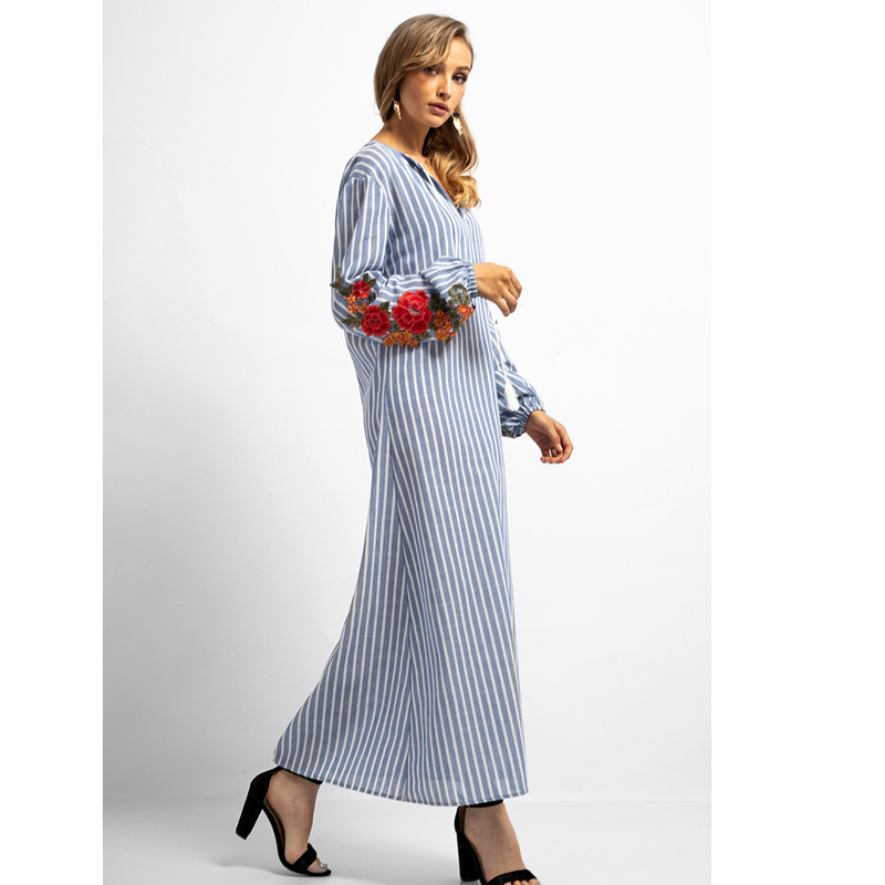Funklouz Abaya Muslim Dress for Women Arab Robes Floral Embroidery Stripe Maxi Dress in Dresses from Women 39 s Clothing