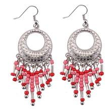 2017 Newest Silver Plated Tassel Earrings For Women Bohemia Vintage Ethnic Jewelry Long Tassel Hook Dangle Earrings Gift