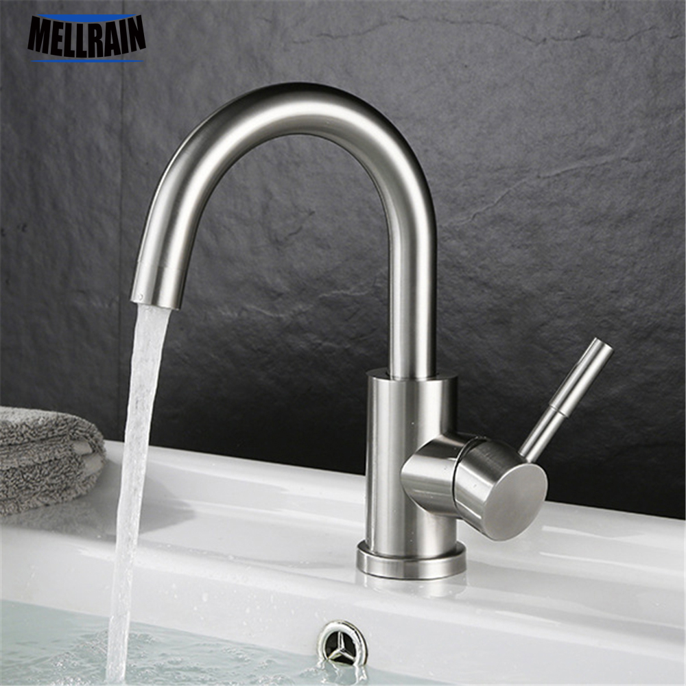 Single handle rotatable bathroom faucet high quality stainless steel basin faucet water mixer