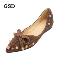 New Women Sequined Cloth Flats Fashion Sweet Bowknot Rivet Ladies Shoes Woman Pointy Toe Ballerina Ballet Flat Shoes Work Shoe