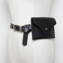 Fashion Travel Waist Pack Luxury Design Fanny Packs Small Women Bag Phone Pouch Punk Belt Purse black PU leather belts