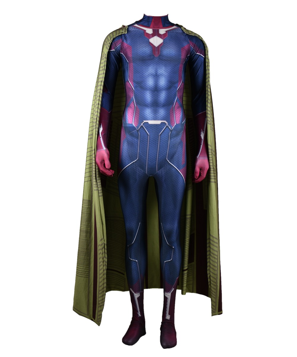 The Avengers 2 Vision Kids Adult Cosplay Superhero Costume Lycra Zentai Bodysuit Halloween Party suit Contains cloak