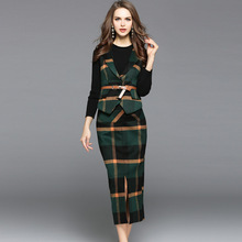 Elastic knit basic shirt and plaid wool package hip skirts and wool vest 3 piece suits