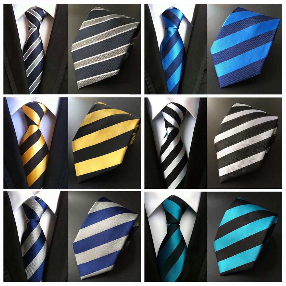 Mens Striped Pattern Jacquard Neck Ties 8cm Polyester Elegant Neckties HZTIE0030