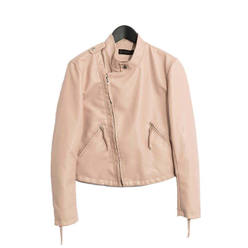 2018 women casual faux leather jacket and coat short 3Color Pink black beige Size SML drop shipping