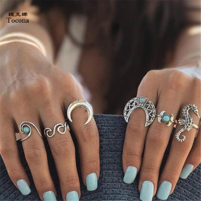 Tocona 6pcs/Set Bohemia Silver Moon Hippocampi Wave Rings Set Rhinestone Knuckle