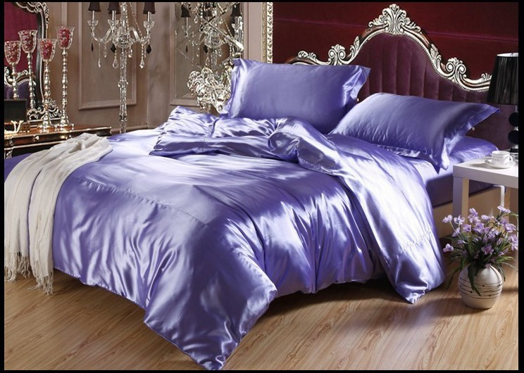 Luxury Light Purple Lilac Silk Bedding Sets Sheets Linen King Size Queen  Quilt Duvet Covers Bed In A Bag Fitted Sheet Bedspread