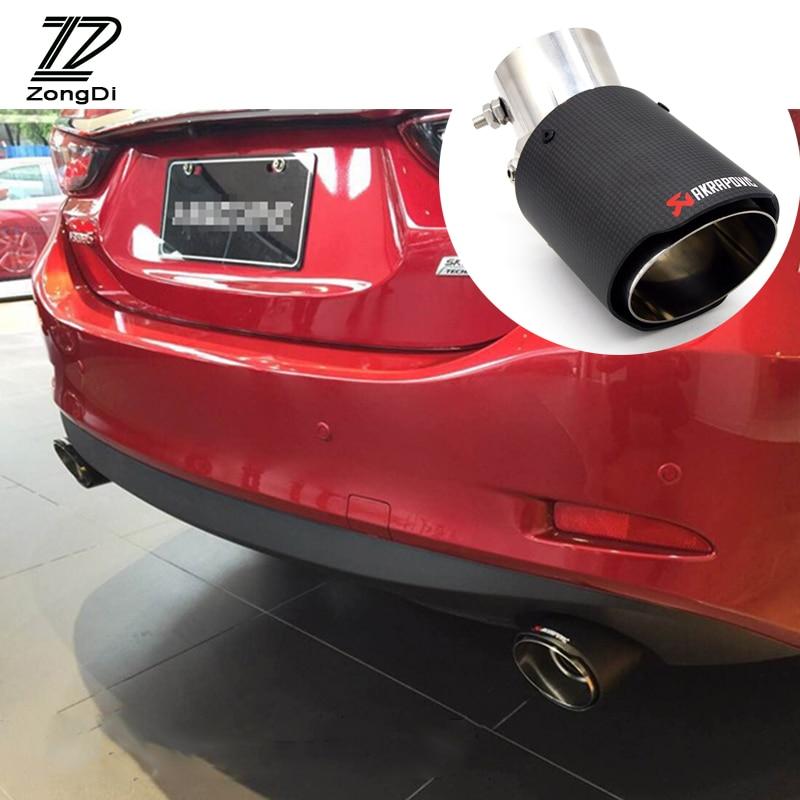 ZD 1PCS For VW BMW Audi Porsche Opel Astra H J G Toyota Honda Nissan Mazda 3 6 Lexus Infiniti Akrapovic Carbon Car Exhaust Pipe