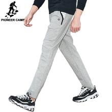 Pantalones de chándal rectos Pioneer Camp para hombre, pantalones elásticos Wasit azul marino elástico de punto, pantalones masculinos 701003