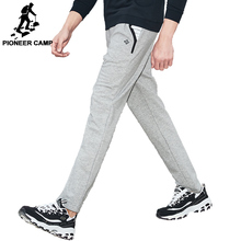 Pioneer Camp Men Straight Sweatpants Autumn Spring Elastic Wasit Navy Blue Stretch Knitted Pants Male Trousers 701003