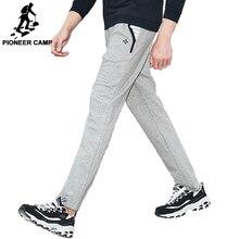 Pioneer Camp hommes pantalons de survêtement droit automne printemps élastique Wasit bleu marine Stretch tricoté pantalon homme 701003