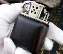 Wood Kerosene Cigarette Lighter Stainless Steel Luxury Durable Lighter Creative Grinding Wheel Metal lighter Outdoor Best Gift