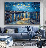 Hand Painted Starlight over the Rhone Near Arles Vincent Van Gogh Quoting Chandler from friends could it be any more lovely