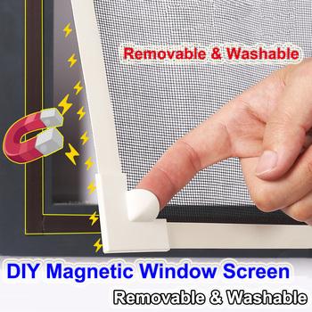 Regulowany DIY dostosuj ekran magnetyczny do okna okna dla kamperów zdejmowany zmywalny niewidoczny moskitiera Fly Mesh tanie i dobre opinie Okno Drzwi i okna ekrany Magnetyczne Zapięcie Self Adhesive Magnetic Window Screen PP+ Nano-coating