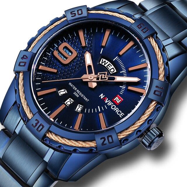 b6ac7bb160f Homens relógios Esportivos de Luxo Da Marca de Quartzo de Aço Completo Relógio  NAVIFORCE Militar relógios