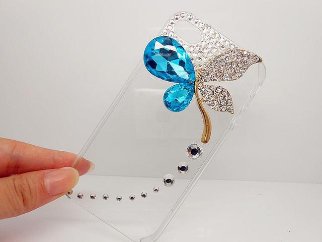 New Luxury Bling Rhinestone Crystal Diamond 3D Hard Mobile Phone Case Covers for iphone4/4s Shiny Butterfly