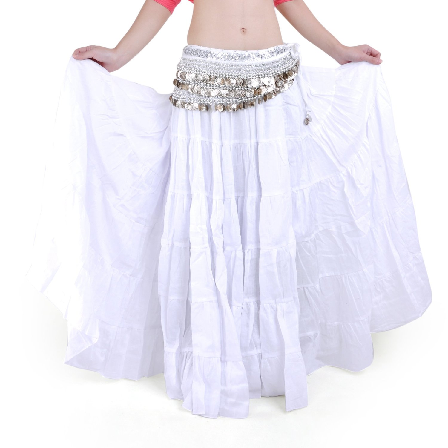 BLACKLady Women Satin Full Circle Skirt Pleated Waist Belly Dance Tribal